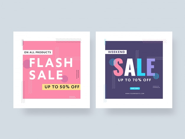 Flash sale and weekend sale poster design with best discount offer in two color option.
