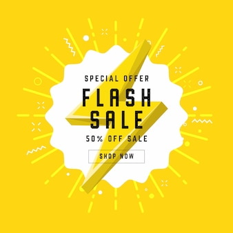 Flash sale with thunder banner template design.