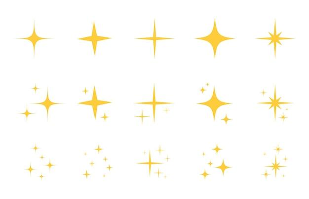 フラッシュスパークルフラットスターアイコンセット。ゴールドの輝き、黄色のキラキラ光、魔法の光沢のあるフレア効果のためのきらめき星のシルエット。孤立したベクトル図。