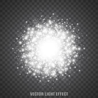 フラッシュ、透明な背景の上で輝きます。きらびやかなライト。スターダスト。輝く粒子。フレア。光の効果。 。