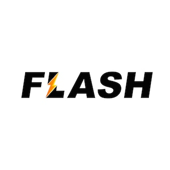 Flash text font logo with lightning symbol
