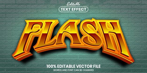 Flash text, font style editable text effect Premium Vector