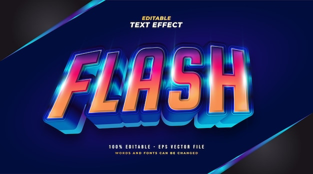 Flash text with colorful retro style and glowing effect. editable text style effect