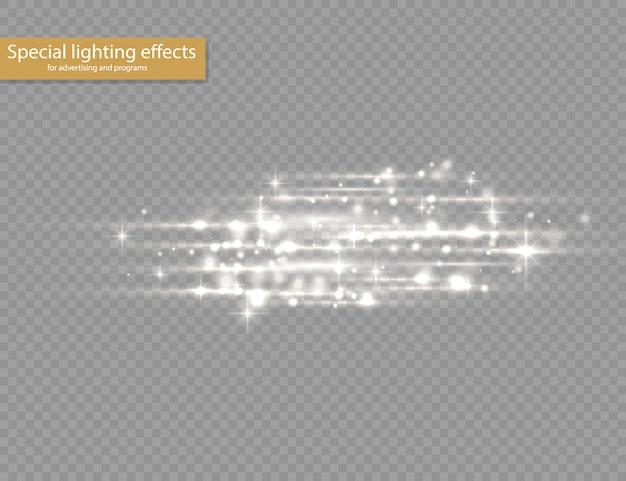 Вспышка белого света с горизонтальными линзами, лазерные лучи, горизонтальные лучи света, красивая вспышка света, светящиеся белые линии на прозрачном фоне, яркие золотые блики,