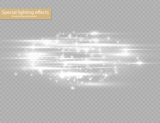 Flash white horizontal lens flares pack, laser beams, horizontal light rays, beautiful light flare, glow white line on transparent background, bright gold glare,  illustration, .