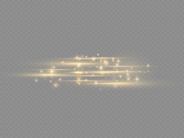 Вспышка желтых горизонтальных бликов, лазерные лучи, горизонтальные лучи света, красивая вспышка света, светящиеся желтые линии на прозрачном фоне, яркие золотые блики