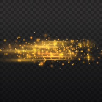 Flash yellow horizontal lens flares pack, laser beams, horizontal light rays, beautiful light flare, glow yellow line on transparent background, bright gold glare,