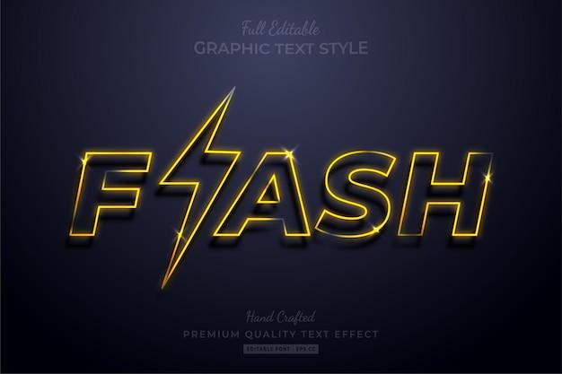 Мигающий желтый неоновый редактируемый текстовый эффект стиля шрифта