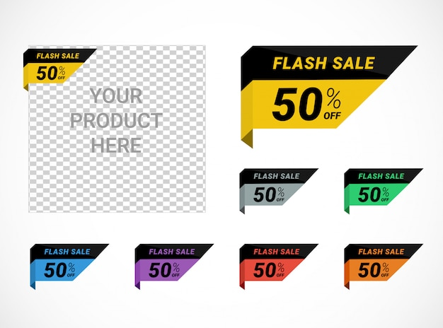 Коллекция этикеток flash распродажа со скидкой