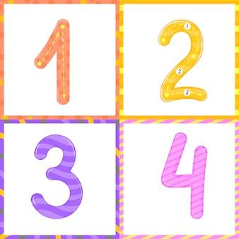 Установите для детей учение по отслеживанию чисел flashcard для подсчета и записи. учим цифры 0-10
