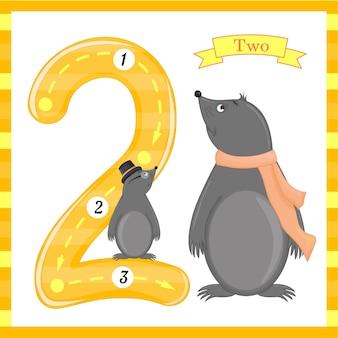 かわいい子供flashcardの番号を1つのトレース