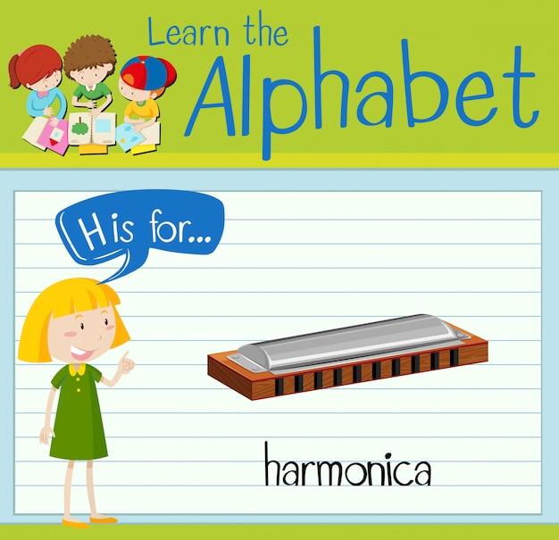 Flashcard alphabet h is for harmonica