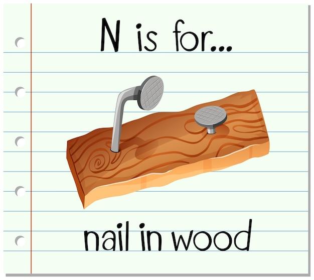 L'alfabeto flashcard n sta per chiodo in legno