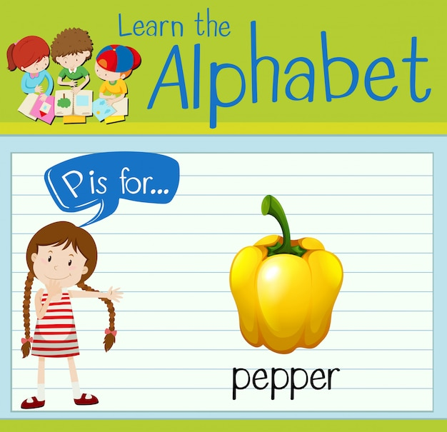 Flashcard alphabet p is for pepper