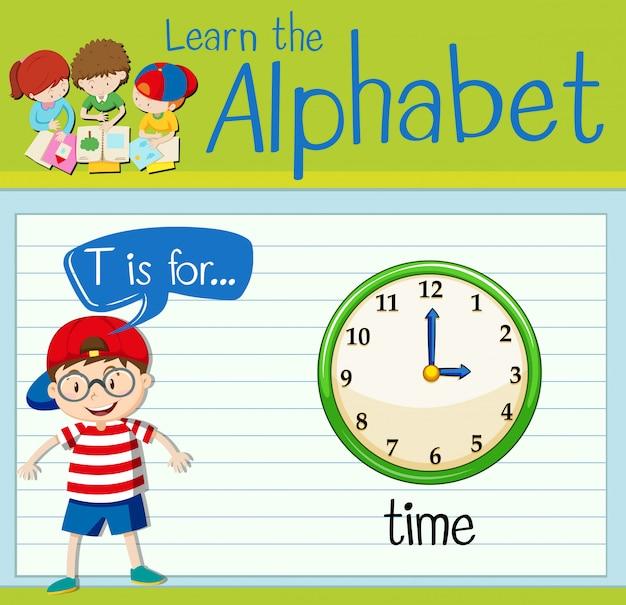 플래시 카드 알파벳 t는 시간입니다