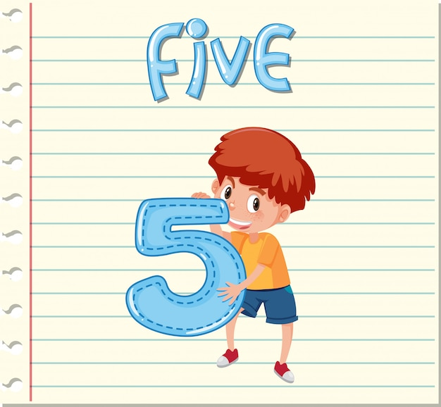 Flashcard design with number five