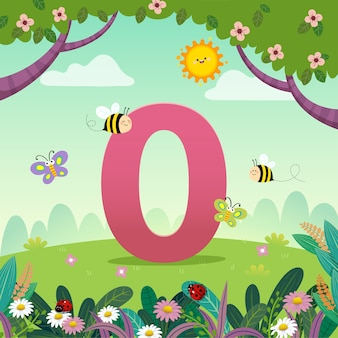 Flashcard for kindergarten and preschool learning to counting number 0 with a number of kids.