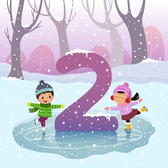 Flashcard for kindergarten and preschool learning to counting number 2 with a number of kids.