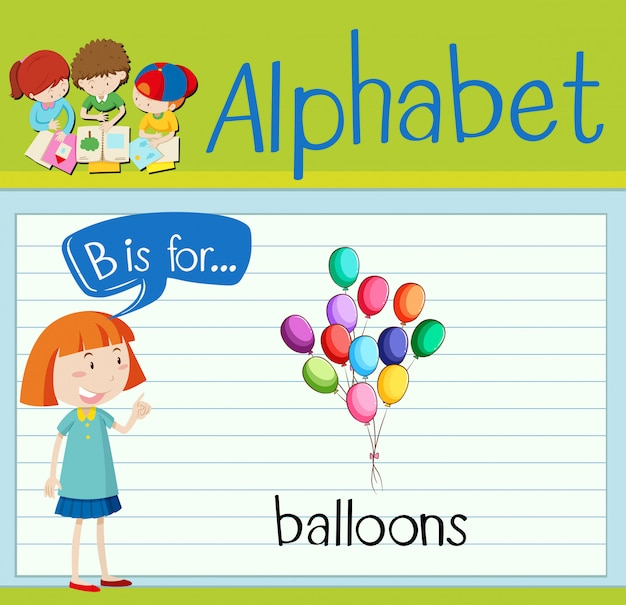 Flashcard letter b is for balloons
