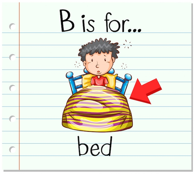Flashcard letter b is for bed