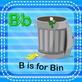 Flashcard letter b is for bin