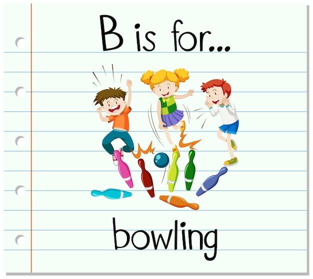 La lettera b della flashcard è per il bowling