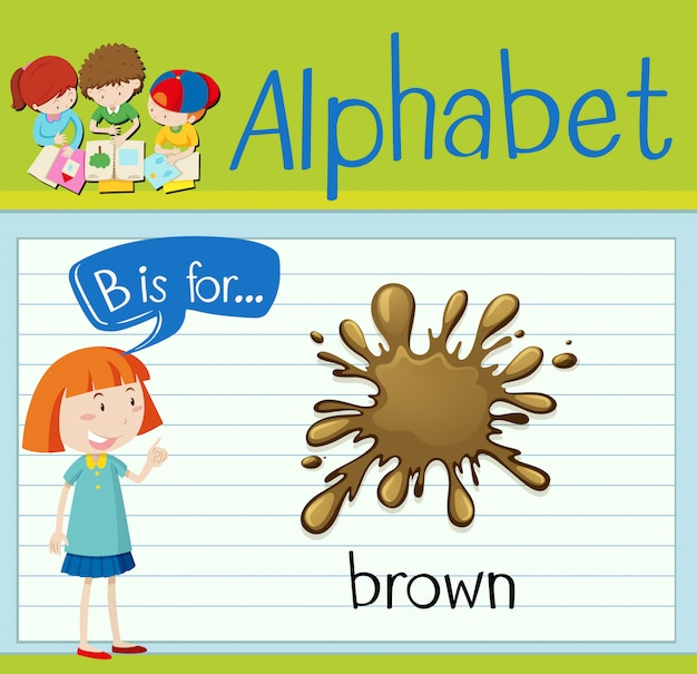 Flashcard letter b is for brown