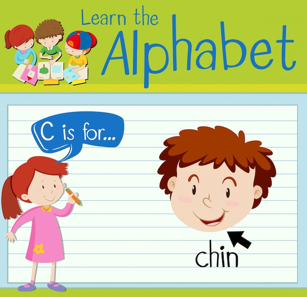 Flashcard letter c is for chin