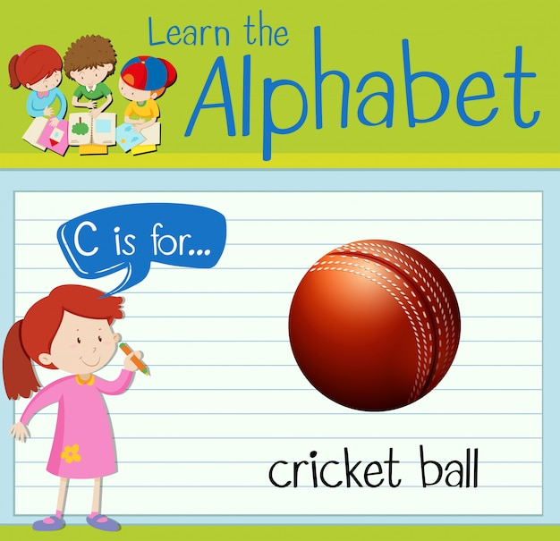 Flashcard letter c is for cricket ball
