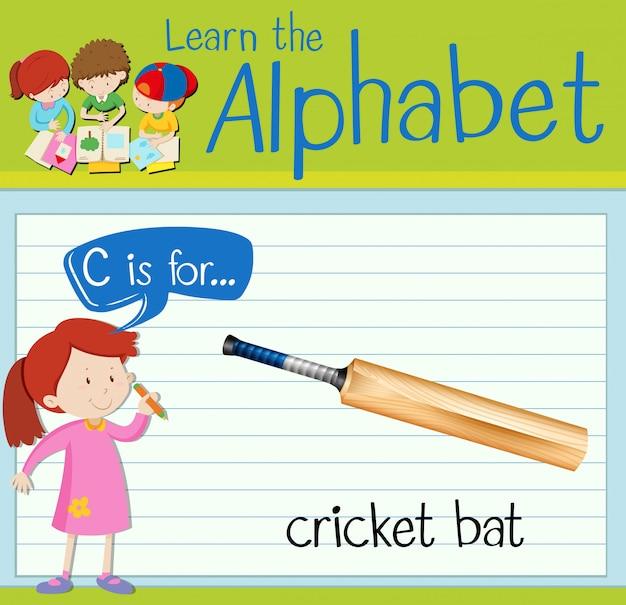 Flashcard letter c is for cricket bat