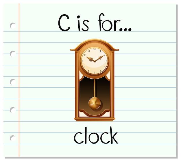 フラッシュカードの文字cは時計用です
