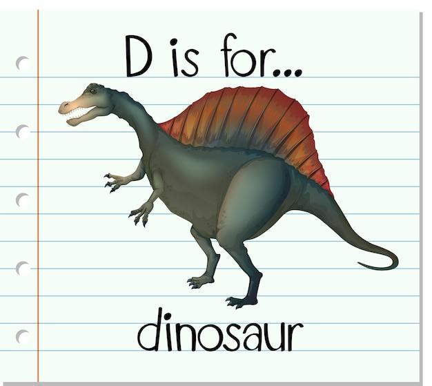 La lettera d di flashcard sta per dinosauro