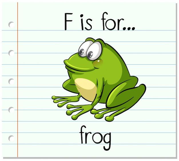フラッシュカードの文字fはカエル
