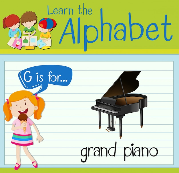 Flashcard letter g is for grand piano