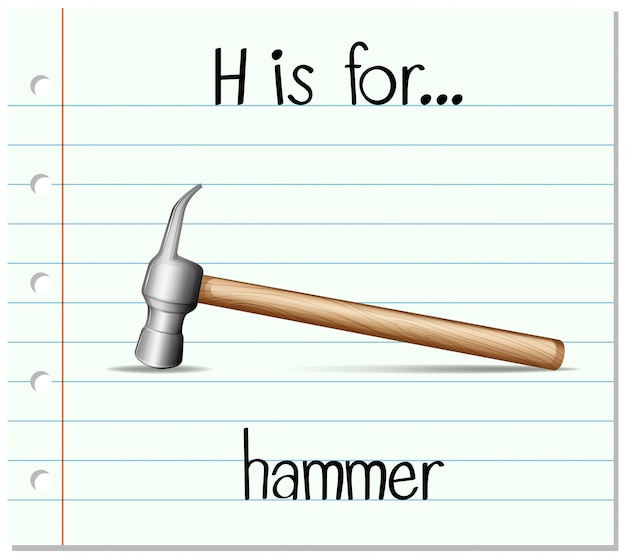 Flashcard letter h is for hammer