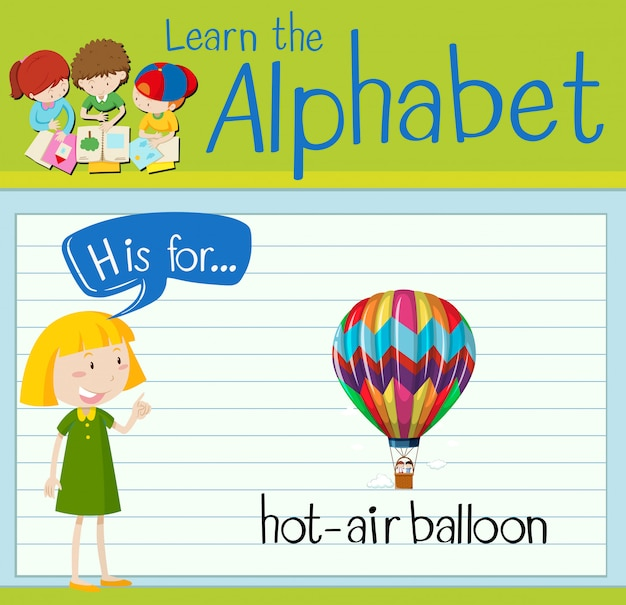 Flashcard letter h is for hot-air balloon