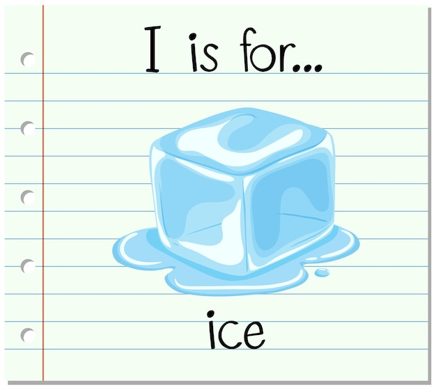 La lettera i di flashcard è per il ghiaccio