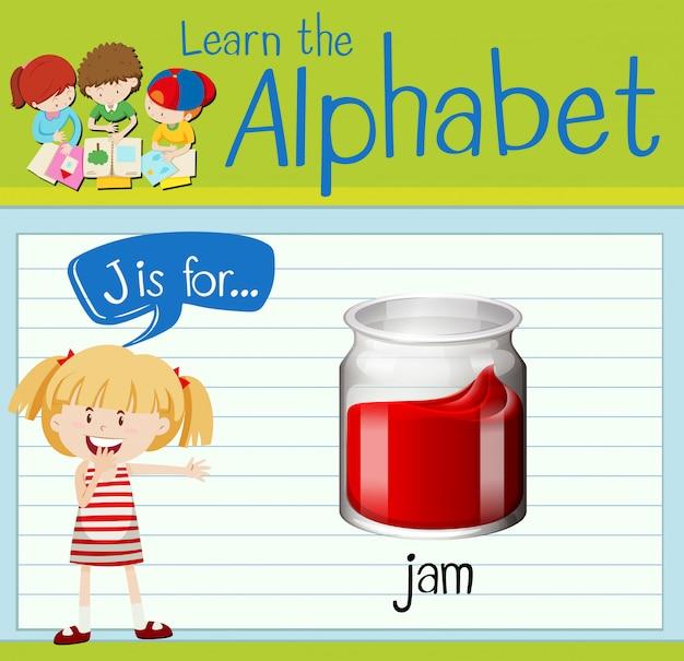 Flashcard letter j is for jam