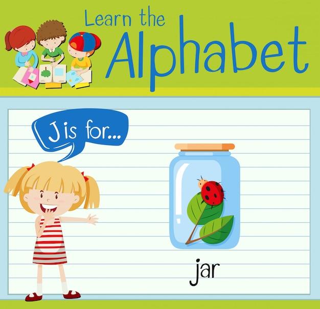 Flashcard letter j is for jar