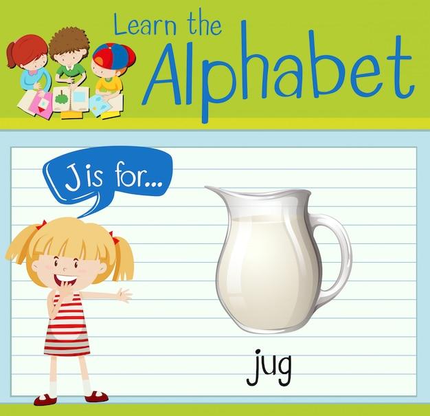 Flashcard letter j is for jug