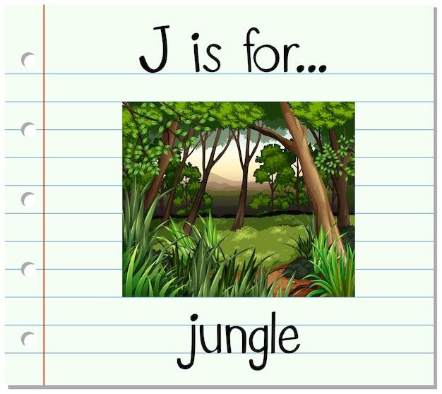 La lettera j della flashcard sta per la giungla