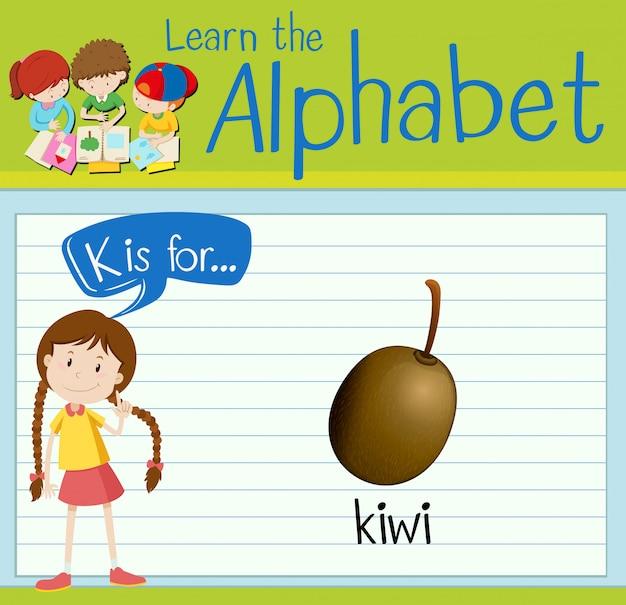 フラッシュカード文字kはキウイです