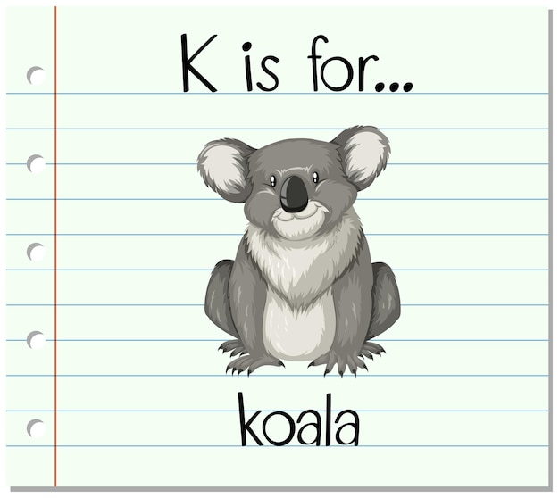 Flashcard 문자 k는 코알라를 위한 것입니다.