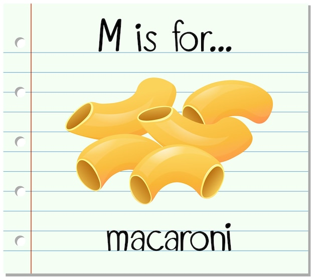 La lettera m di flashcard è per i maccheroni