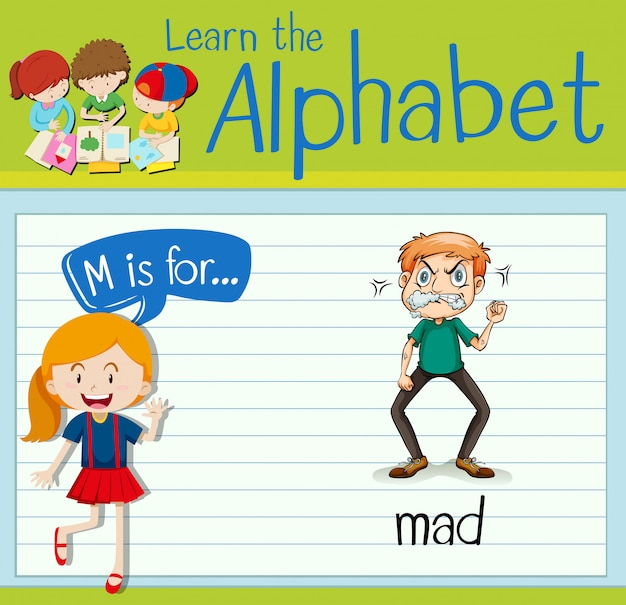 Flashcard letter m is for mad