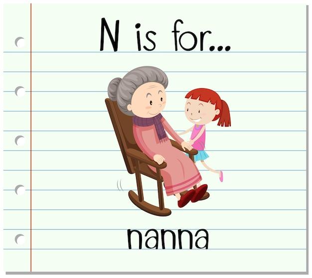 フラッシュカードの文字nはナンナのためのものです
