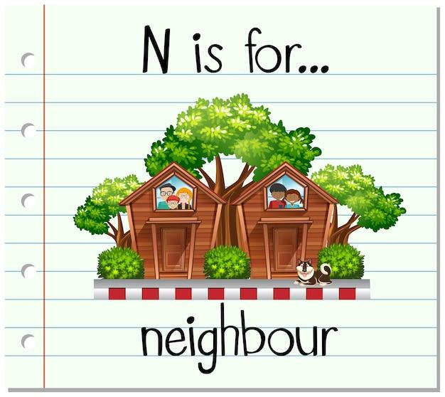 Flashcard 문자 n은 이웃을 위한 것입니다.