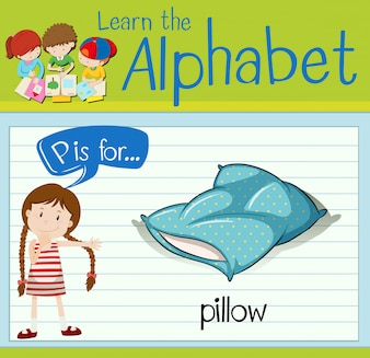 Flashcard letter P is for pillow