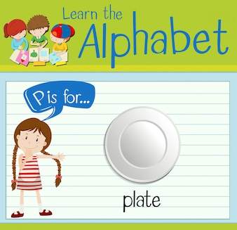 Flashcard letter P is for plate