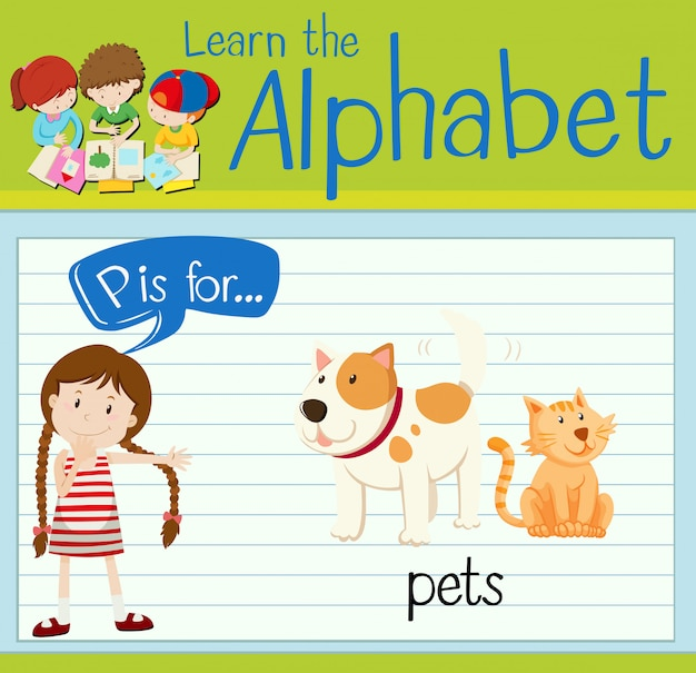 Flashcard letter p is for pets
